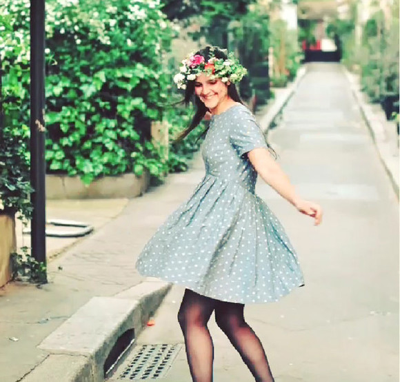 dress polka dots blue instagram blue dress flowers cute dress polka dots dress flower crown asos tshirt dress