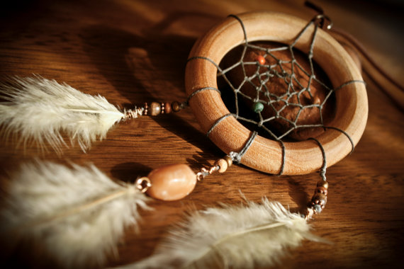 Earthy wooden dreamcatcher necklace with tiger door mahkahdesigns