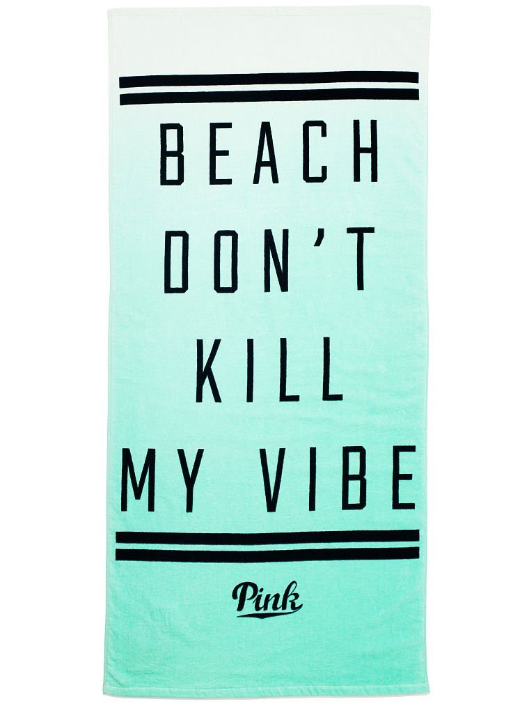 "Amazon.com: victoria's secret pink spring break 2015 beach towel mint ombre ""beach don't kill my vibe""   bonus vs decal: beauty"