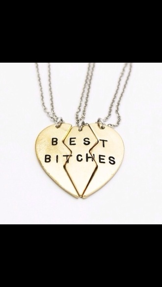 jewels heart best bitches gold help me pls