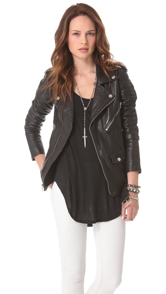 BLK DNM Motorcycle Jacket With Quilted Stripes | SHOPBOP