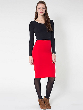 Ponte Mid Length Pencil Skirt | American Apparel