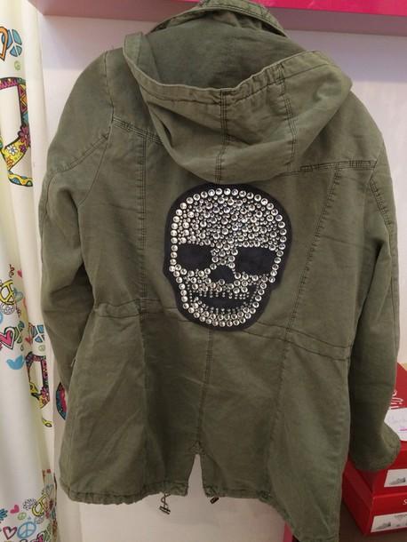 cardigan parka skulls