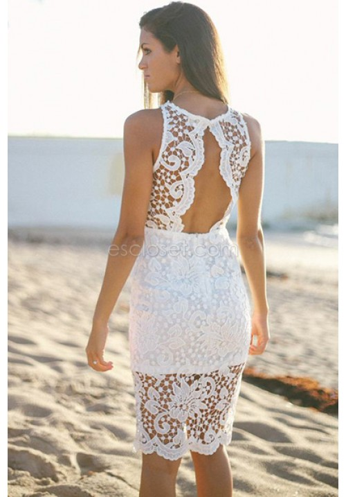 Stella- Oh my lace! We are OBSESSED with this knee-length dress! Fea
