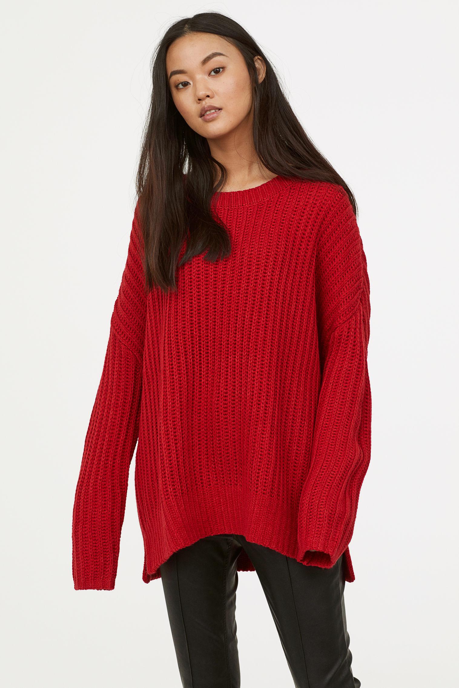 Knit Sweater - Red - Ladies   H&M US