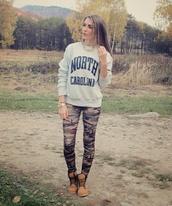 sweater,sweatshirt,grey,leggings,camo leggings,cute