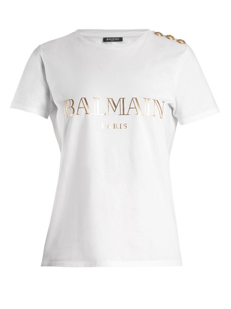 Balmain t-shirt shirt t-shirt print white top