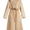 Oversized-collar belted shearling coat