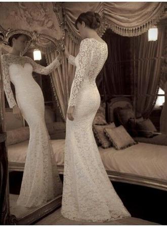 dress wedding dress lace dress long sleeve dress