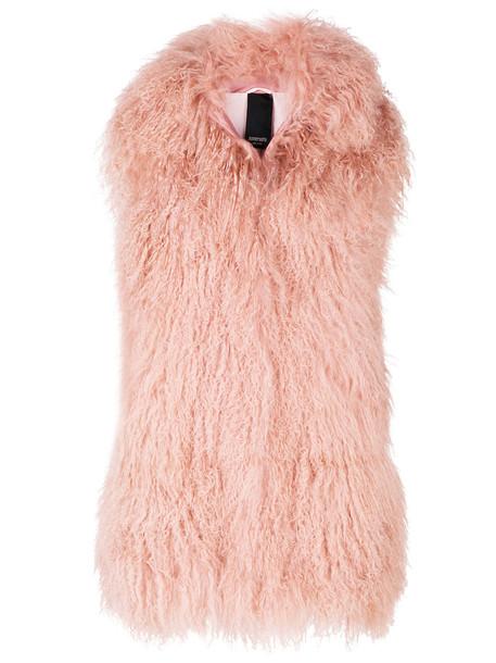 Numerootto coat sleeveless coat sleeveless fur women silk purple pink