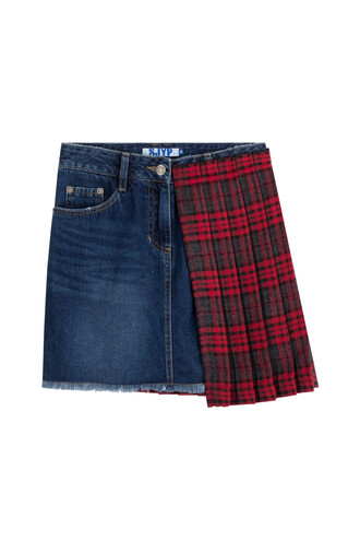 skirt denim skirt denim pleated tartan blue