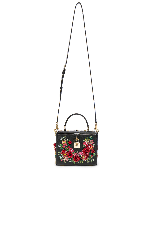 Dolce & Gabbana Studded Soft Bag in Black & Red | FWRD