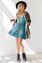 blue dress,dress,urban outfitters,denim,button up,grunge,hipster,jacket,hat,fashion,denim dress,button up dress,spring outfits,coat,boho,boho dress,skater dress,style,soft grunge,outfit,blue