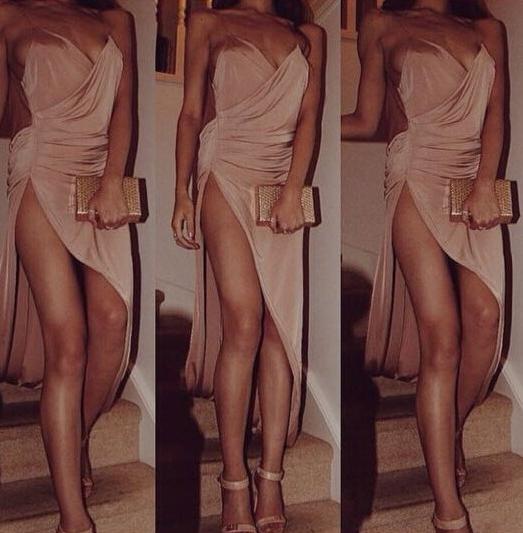 Fashion backless hot irregular dress