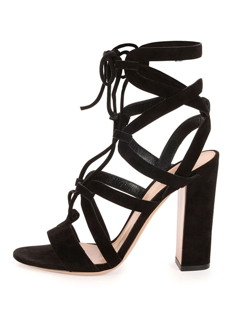 437b59ffce2 Black Suede Lace Up Gladiator Block Heeled Sandals - Choies.com