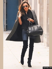 shoes,miranda kerr boots,round toe,platform shoes,120 mm,patent stiletto,patent stiletto heel,black suede leather,over the knee boots,assjc,trench coat,red lipstick,wavy hair