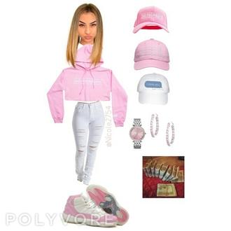 sweater no fuckboys slay polyvore polyvore set cute sexy dope retros jordans hotline bling pink light pink jewelry earrings hat snapback nike nike shoes jeans