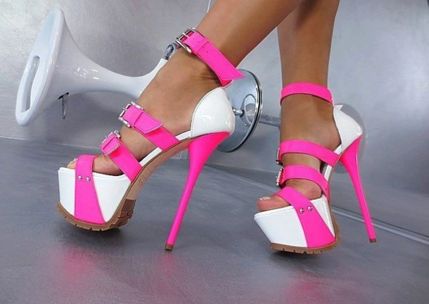 Pink And White High Heels
