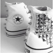 shoes,converse,studs,studded shoes,spikes,spiked shoes,white,white shoes,swag,white converse,all star,chuck taylor all stars,high top converse,punk,fashion,stripes,black and white,allstar,stars,celebrity,brand