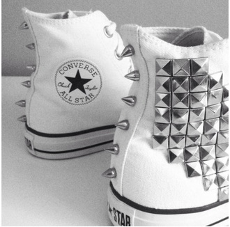 shoes converse studs studded shoes spikes spiked shoes white white shoes swag white converse all star chuck taylor all stars high top converse punk fashion stripes black and white allstar stars celebrity brand