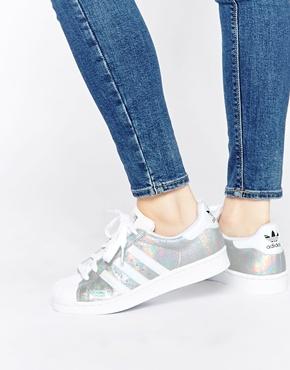 adidas Originals Superstar Holographic White Trainers at asos.com