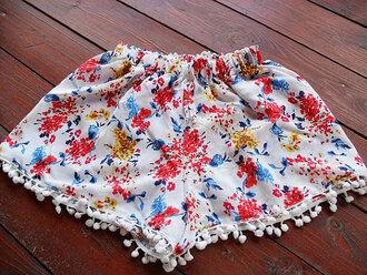 shorts summer shorts beach shorts pom poms pom pom pom pom shorts women shorts flowered shorts