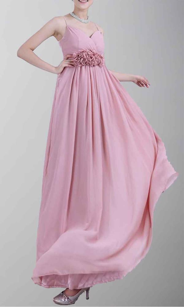 long bridesmaid dress spaghetti straps dress pink dress empire waist dress long prom dress maternity dress