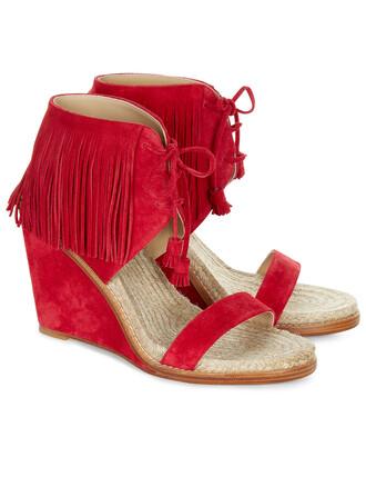 wedge heels heels suede red