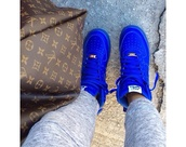 shoes,pants,louis vuitton,louis vuitton bag,blue sneakers,blue shoes,bright sneakers,nike air force 1,cobolt blue,electric blue,suede,shorts,nike air blue navy,air max,royal blue,nike,rare,nike sneakers,blue,forces,blue air force 1s,cobalt blue,high top,af1,pink shoes,nike blue,nike air force,high top sneakers,nike shoes