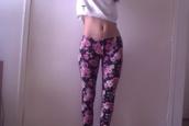 pants,flowers,floral pants,black leather pants,black pants,skinny pants,snake print pants,pink,pink pants
