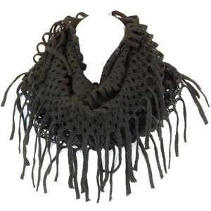 Knit Tube Long Fringed Scarf Infinity Circle Loop Endless Wrap Multi Wear Black | eBay