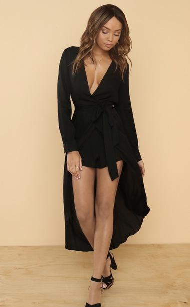 romper maxi romper black maxi dress black playsuit low cut v