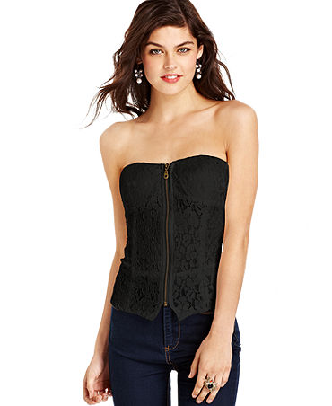 Say What? Juniors' Strapless Lace Bustier Top - Juniors Tops - Macy's