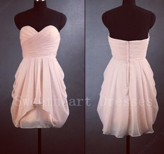 dress cute beautiful lovely peach bridesmaid peach dress tube dress prom dress short prom dress