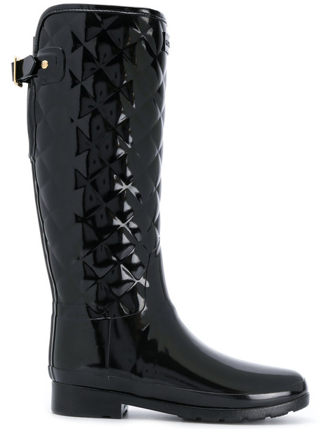Hunter knee-high boots high women quilted black shoes