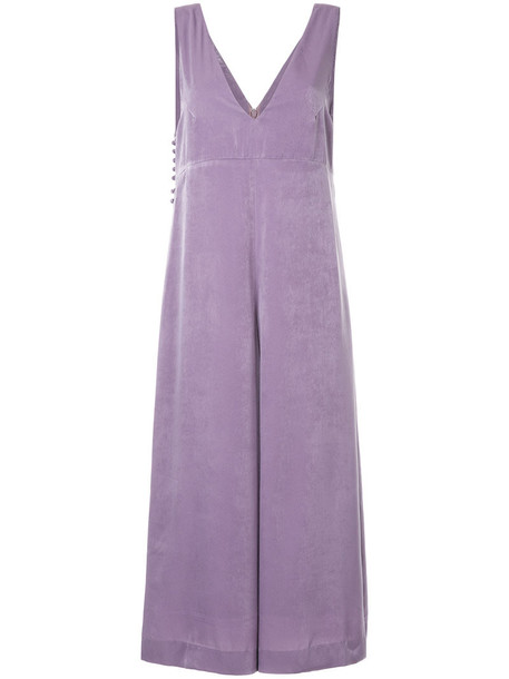 Cityshop - cropped wide leg jumpsuit - women - Polyester - 36, Pink/Purple, Polyester