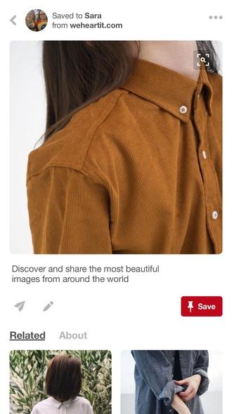 shirt corduroy collar shirt button up