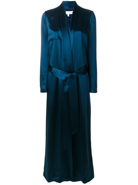 Galvan coat trench coat women spandex blue silk