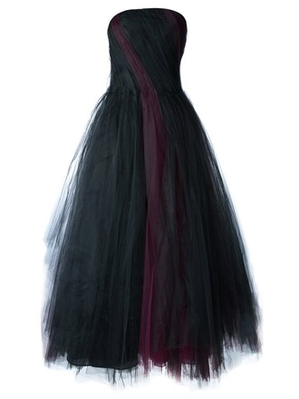 gown pleated black dress