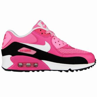 black shoes nike pink nike air max 90 le nike air max 90 le gs nike air max 90 girls generation girls fashion pink shoes running shoes