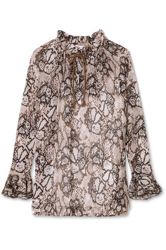 blouse light cotton silk brown top