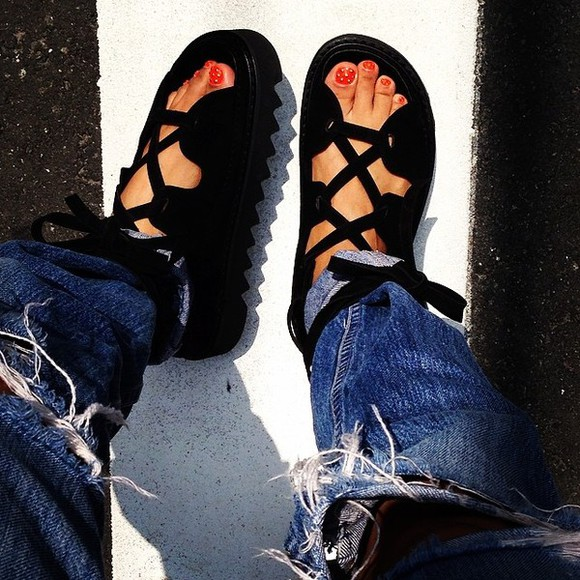 shoes flat sandals sandals black celine