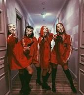 jacket,red,white,oversized,red sweater stripes casadepapel l,red tracksuit,2 stripe,red jacket,red coat,white strips,halloween,halloween costume,dress,casa de papel,girl,kylie jenner,stripes,thigh high boots,red jacket dress,blouse,red striped,white striped,waterproof,sein,white striped sleeve