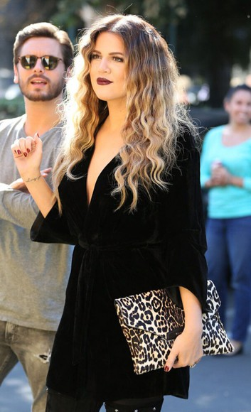 top black top bag little black dress clutch cheetah hair khloe kardashian ombre bleach dye ombre hair v neck dress leopard print lipstick cheetah print black dresses