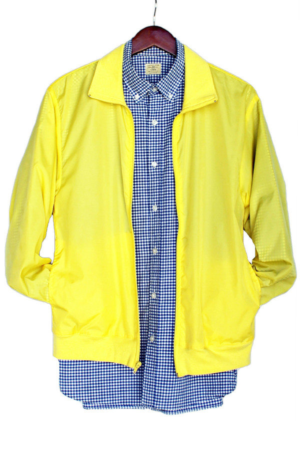 jacket neon american justvu.com american apparel nylon windbreaker clothes yellow menswear mens jacket fall outfits winter outfits