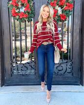 sweater,red sweater,stripes,high heel pumps,skinny jeans,gucci belt,knitted sweater,crossbody bag