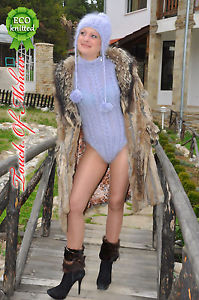 New hand knitted mohair sweater bodysuit fuzzy and thick by touch of mohair