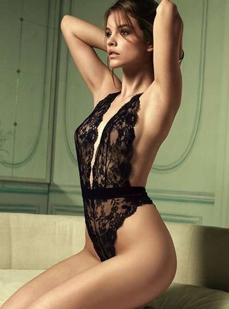underwear lace barbara palvin sexy lingerie bodysuit teddy black