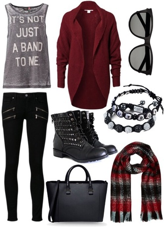 pants black red gray black pants boots studs purse bag sunglasses bracelets cardigan scarf tank top shirt top shoes