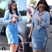 skirt,kylie jenner,kardashians,jeans pencil skirt